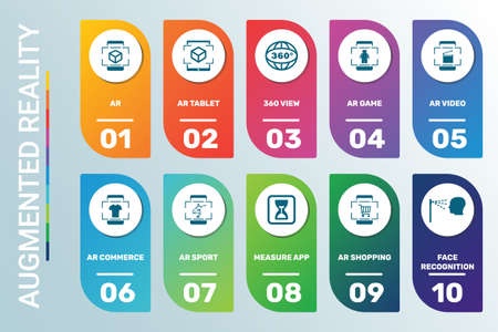 Vector Infographic template Ar data visualization. 10 step options in different colors. Can be used for process diagram, presentations, workflow layout, banner, flow chart, info graph with AR icons