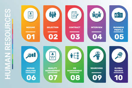 Vector Infographic template Human Resources data visualization. 10 step options in different colors. Can be used for process diagram, presentations, workflow layout, banner with HUMAN RESOURCES icons