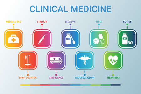 Clinical Medicine data infographics visualization. Process chart. Diagram with steps, options or processes. Vector CLINICAL MEDICINE icon template for presentation. Creative concept for infographic 免版税图像 - 149312527