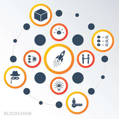 Vector Infographic template Blockchain data visualization. Different colors. Can be used for process diagram, presentations, workflow, banner with BLOCKCHAIN icons Zdjęcie Seryjne - 150414566