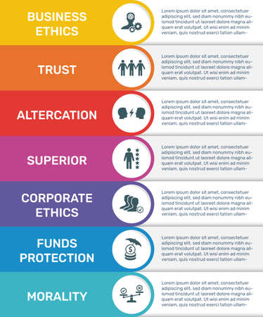 Vector Infographic banner template Business Ethics. Modern flat color design. Can be used for process diagram, presentations, workflow, banner with BUSINESS ETHICS icons