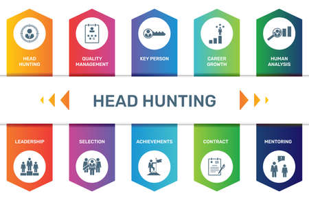 Infographic template Head Hunting data visualization. 10 step options. Can be used for process diagram, presentations, workflow layout, banner with HEAD HUNTING icons.