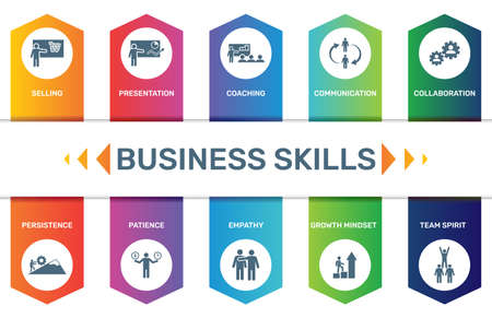 Infographic template Business Skills data visualization. 10 step options. Can be used for process diagram, presentations, workflow layout, banner with BUSINESS SKILLS icons.