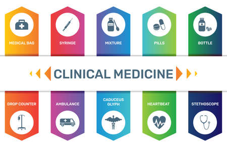 Infographic template Clinical Medicine data visualization. 10 step options. Can be used for process diagram, presentations, workflow layout, banner with CLINICAL MEDICINE icons.