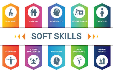 Infographic template Soft Skills data visualization. 10 step options. Can be used for process diagram, presentations, workflow layout, banner with SOFT SKILLS icons.