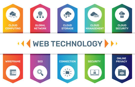 Infographic template Web Technology data visualization. 10 step options. Can be used for process diagram, presentations, workflow layout, banner with WEB TECHNOLOGY icons. Ilustração
