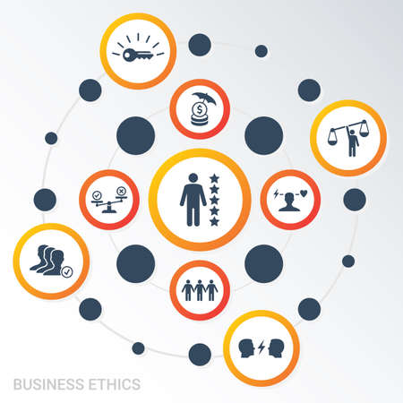 Vector Infographic template Business Ethics data visualization. Different colors. Can be used for process diagram, presentations, workflow, banner with BUSINESS ETHICS icons. Illustration