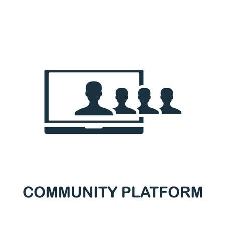 Community Platform icon. Creative element sign from community management collection. Monochrome Community Platform icon for templates, infographics and more. Ilustração