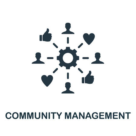 Community Management icon. Simple creative element. Filled Community Management icon for templates, infographics and more
