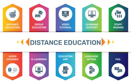 Vector Infographic template Distance Education data visualization. 10 step options. Can be used for process diagram, presentations, workflow layout, banner with DISTANCE EDUCATION icons
