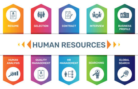 Vector Infographic template Human Resources data visualization. 10 step options. Can be used for process diagram, presentations, workflow layout, banner with HUMAN RESOURCES icons Ilustração