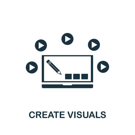 Create Visuals icon. Simple element from game development collection. Filled Create Visuals icon for templates, infographics and more Ilustração