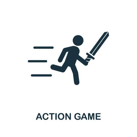 Action Game icon. Simple element from game development collection. Filled Action Game icon for templates, infographics and more