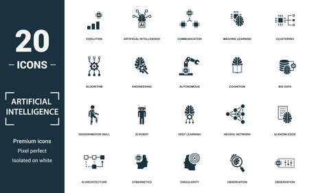 Artificial Intelligence icon set. Monochrome sign collection with evolution, artificial intelligence, communication, machine learning and over icons. Artificial Intelligence elements set.