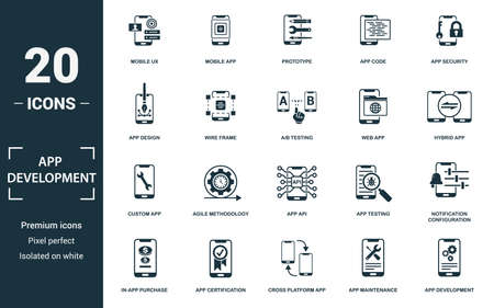 App Development icon set. Monochrome sign collection with mobile ux, mobile app, prototype, app code and over icons. App Development elements set. Ilustração