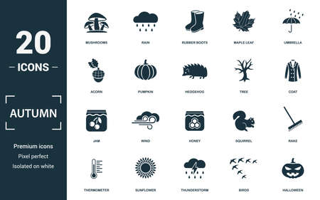 Autumn icon set. Monochrome sign collection with mushrooms, rain, rubber boots, maple leaf and over icons. Autumn elements set. Ilustração