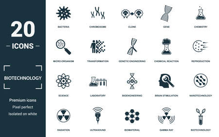 Biotechnology icon set. Monochrome sign collection with bacteria, chromosome, clone, gene and over icons. Biotechnology elements set.