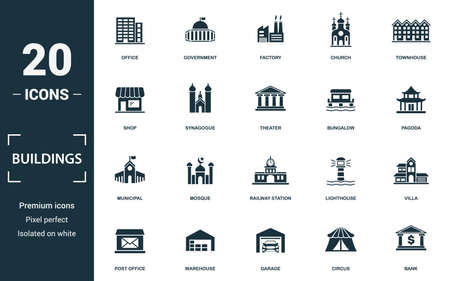 Buildings icon set. Monochrome sign collection with office, government, factory, church and over icons. Buildings elements set.