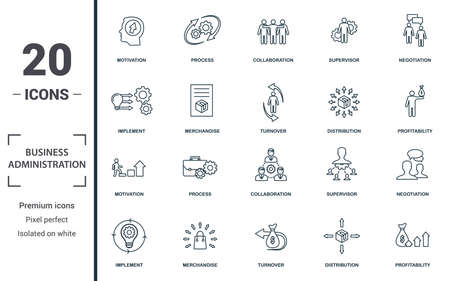 Business Administration icon set. Monochrome sign collection with motivation, process, collaboration, supervisor and over icons. Business Administration elements set. Ilustração