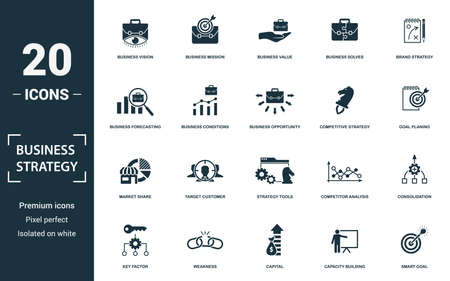Business Strategy icon set. Monochrome sign collection with business vision, business mission, business value, business solves and over icons. Business Strategy elements set.