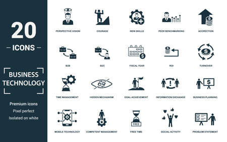 Business Technology icon set. Monochrome sign collection with time management, hidden mechanism, goal achievement, information exchange and over icons. Business Technology elements set. Ilustração