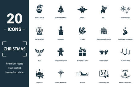 Christmas icon set. Monochrome sign collection with santa claus, christmos tree, angel, bell and over icons. Christmas elements set.