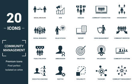 Community Management icon set. Monochrome sign collection with social measure, sem, inbound, community connection and over icons. Community Management elements set. Ilustração