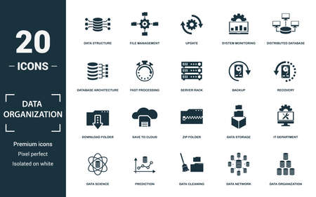 Data Organization icon set. Collection of simple elements such as the data structure, file management, update, system monitoring. Data Organization theme signs