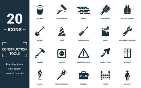 Construction Tools icon set. Monochrome sign collection with bucket, paint roller, bricks, paintbrush and over icons. Construction Tools elements set.