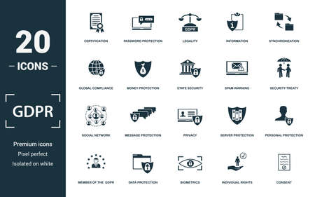 Gdpr icon set. Monochrome sign collection with certification, password protection, legality, information and over icons. Gdpr elements set. Ilustração
