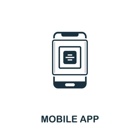 Mobile App icon. Creative element sign from app development collection. Monochrome Mobile App icon for templates, infographics and more.