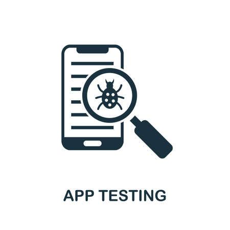 App Testing icon. Simple element from app development collection. Filled App Testing icon for templates, infographics and more Çizim