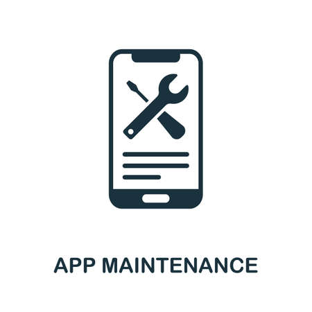 App Maintenance icon. Simple element from app development collection. Filled App Maintenance icon for templates, infographics and more