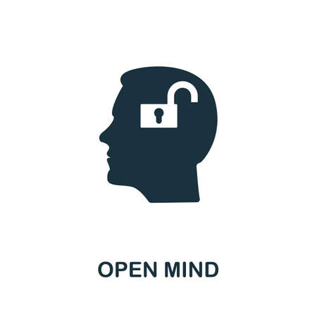 Open Mind icon. Simple element from life skills collection. Filled Open Mind icon for templates, infographics and more 矢量图像