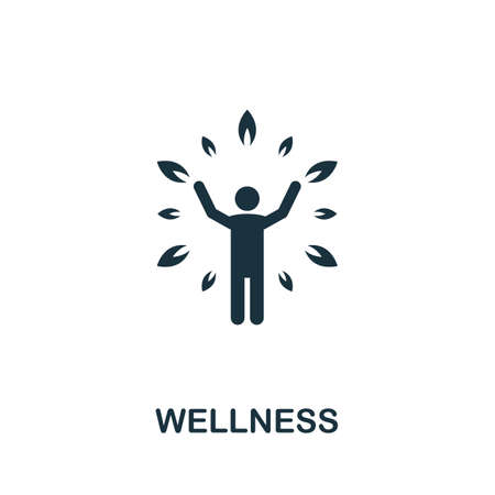 Wellness icon. Simple element from life skills collection. Filled Wellness icon for templates, infographics and more 矢量图像