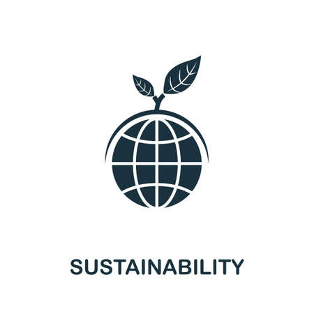 Sustainability icon. Simple element from life skills collection. Filled Sustainability icon for templates, infographics and more 矢量图像