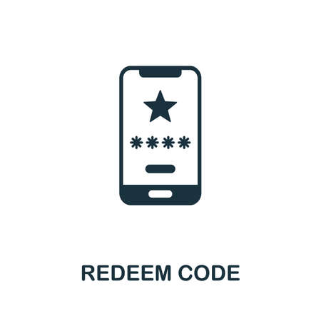 Redeem Code icon. Creative element sign from loyalty program collection. Monochrome Redeem Code icon for templates, infographics and more.