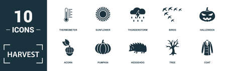 Harvest icon set. Monochrome sign collection with jam, wind, honey, squirrel and over icons. Harvest elements set. Ilustração