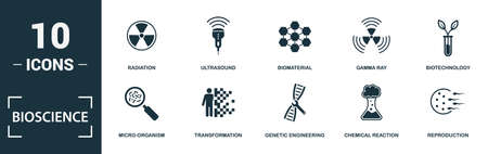 Bioscience icon set. Monochrome sign collection with science, laboratory, bioengineering, brain stimulation and over icons. Bioscience elements set. Vettoriali