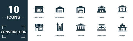 Construction icon set. Monochrome sign collection with municipal, mosque, railway station, lighthouse and over icons. Construction elements set. Vettoriali