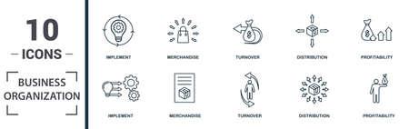 Business Organization icon set. Monochrome sign collection with motivation, process, collaboration, supervisor and over icons. Business Organization elements set.