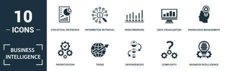 Business Intelligence icon set. Monochrome sign collection with statistical inference, information retrieval, benchmarking, data visualization and over icons. Business Intelligence elements set. Vettoriali
