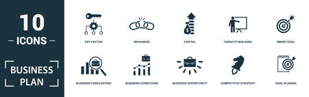 Business Plan icon set. Monochrome sign collection with market share, target customer, strategy tools, competitor analysis and over icons. Business Plan elements set.