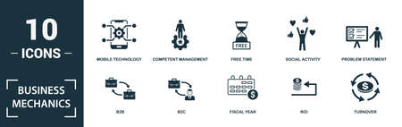 Business Mechanics icon set. Monochrome sign collection with b2b, b2c, fiscal year, roi and over icons. Business Mechanics elements set.