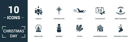 Christmas Day icon set. Monochrome sign collection with elk, gingerbread man, christmas gift, vestive bow and over icons. Christmas Day elements set.