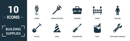Building Supplies icon set. Monochrome sign collection with hammer, socket, dangerous area, trowel tool and over icons. Building Supplies elements set.