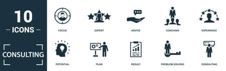 Consulting icon set. Monochrome sign collection with focus, expert, advice, coaching and over icons. Consulting elements set. Vettoriali