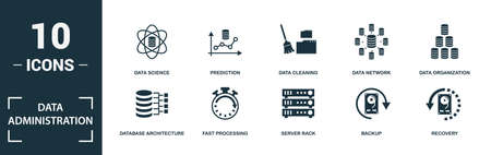 Data Administration icon set. Monochrome sign collection with download folder, save to cloud, zip folder, data storage and over icons. Data Administration elements set.