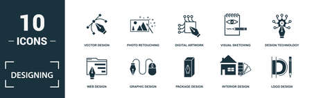 Designing icon set. Monochrome sign collection with branding design, typography, banner design, animation design and over icons. Designing elements set.