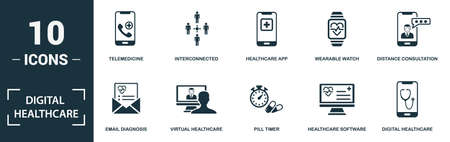 Digital Healthcare icon set. Monochrome sign collection with telemedicine, interconnected, healthcare app, wearable watch and over icons. Digital Healthcare elements set.
